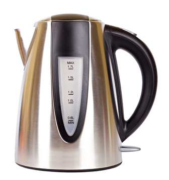Stainless electrical teakettle isolated